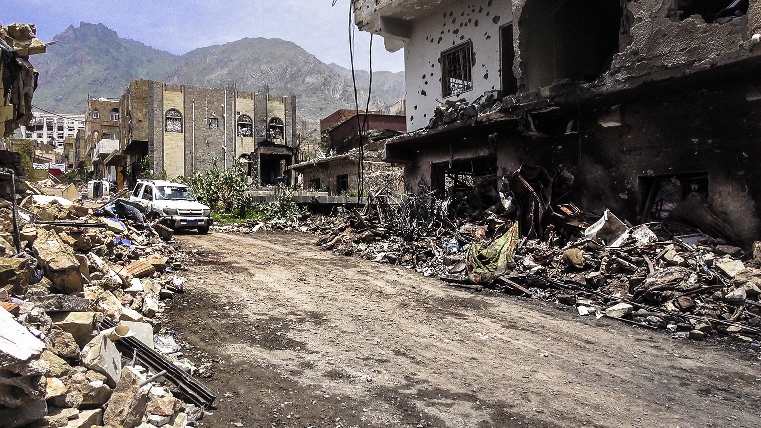 PICTURED:  Yemen/Taiz City - Nov 20 2018,  a month after Macron's secret meeting. Residential neighborhoods destroyed by the war by the Houthi militia on the city of Taiz since 2015.  credit  anasalhajj/Shutterstock.com