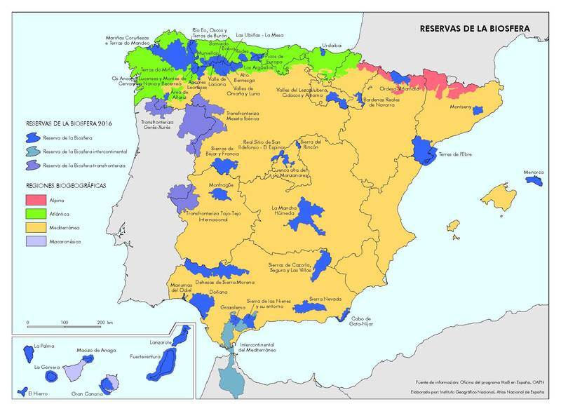 PICTURED:  The extensive system of Spanish Biosphere Reserves.