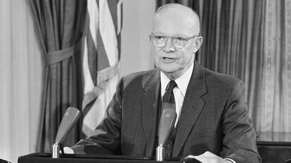 "PICTURED:  Lt. Gen. and President Dwight Eisenhower delivering his warning to the American people of the formidable power of the new ""military industrial complex""."