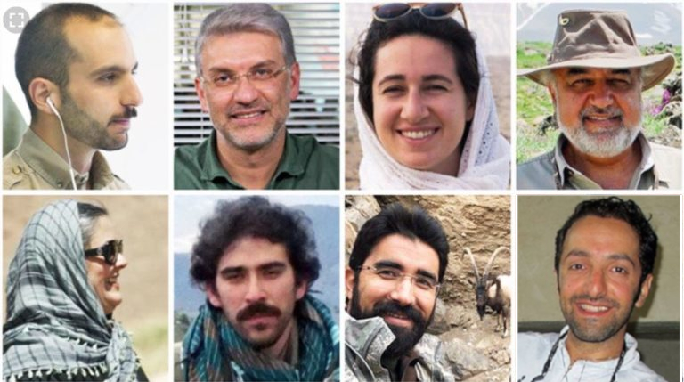 PICTURED:  The 8 conservationists. From the top row running from left to right, Sam Rajabi, Houman Jowkar, Niloufar Bayani and Morad Tahbaz, and in the bottom row from left to right Sepideh Kashani, Amirhossein Khaleghi and Taher Ghadirian. Image copyright of  #Anyhopefornature
