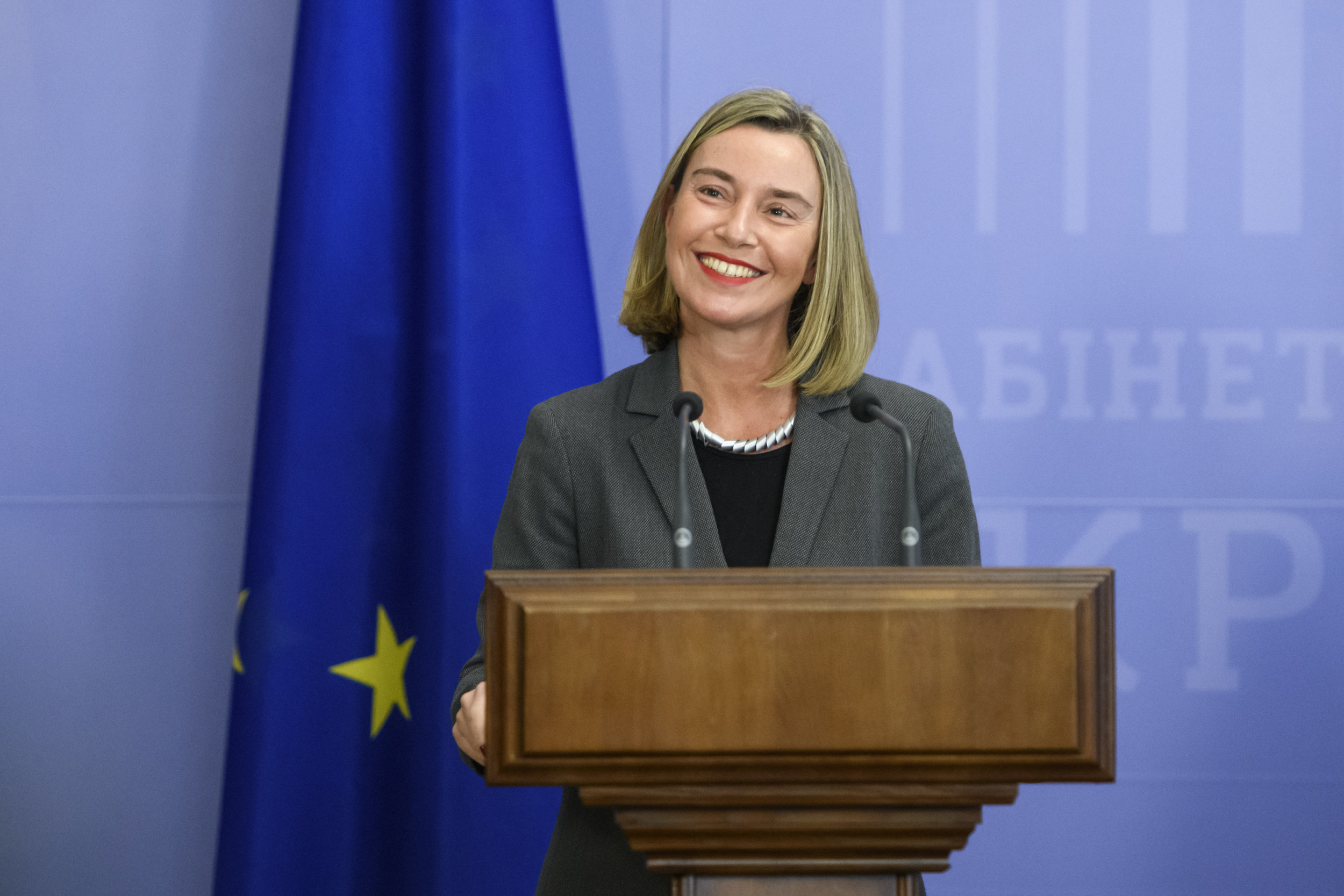 PICTURED:  High-Representative Federica Mogherini in a meeting with Ukraine's Volodymyr Groysman.  Photo credit, Wikimedia    4.0 CC License   .