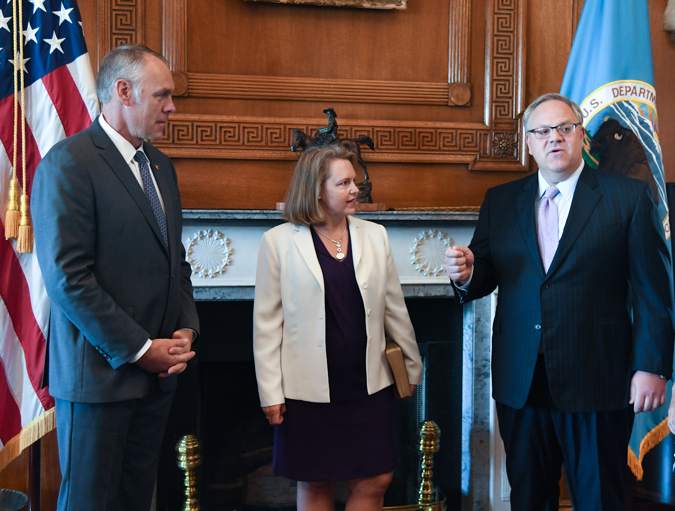 August 1st, 2017. PICTURED:  Former Interior Secretary Ryan Zinke (left) stands with newly-sworn in Deputy Sec., and now current Interior Secretary David Bernhardt (right).