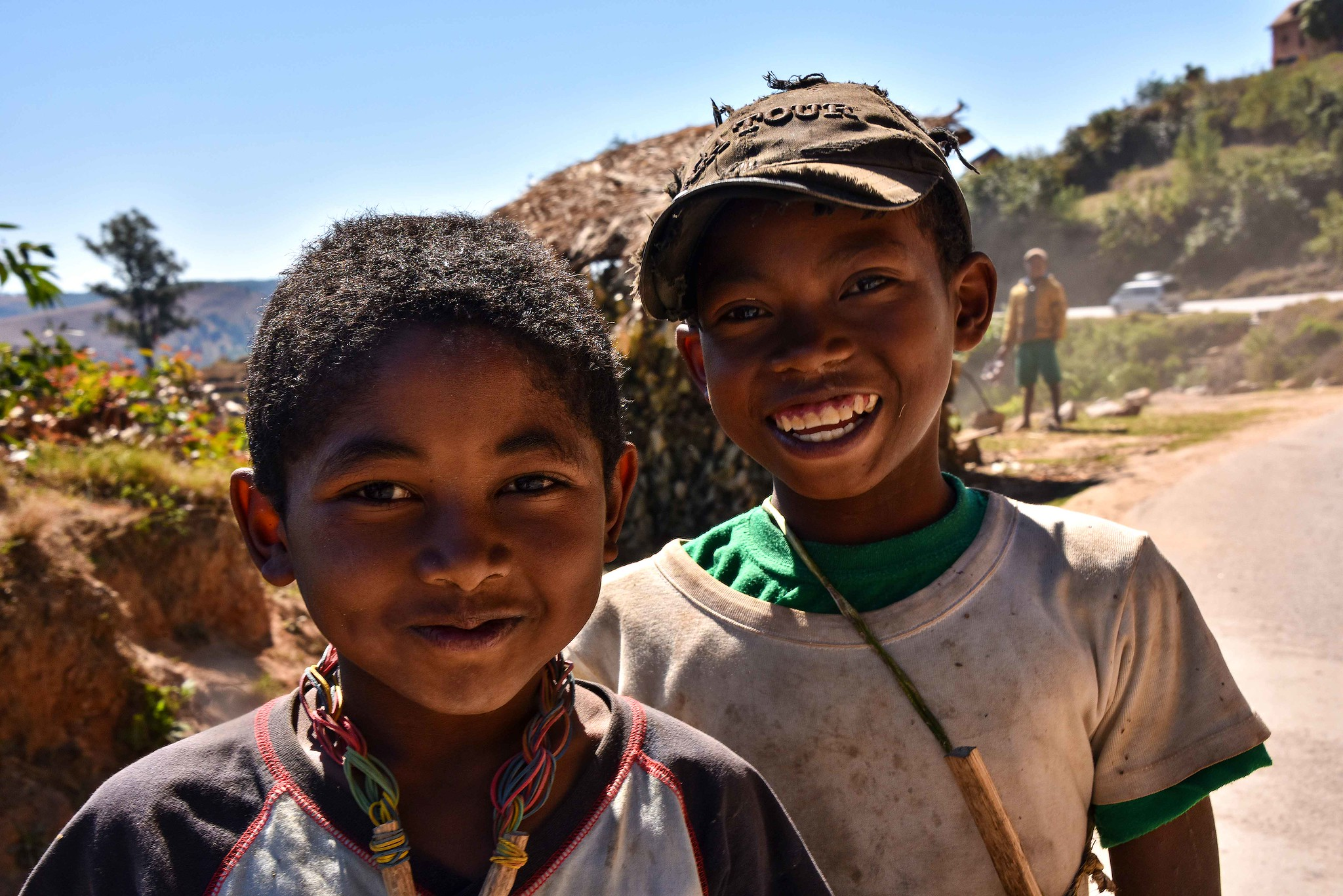 PICTURED:  Two young Malagasy boys smile for the camera. The Malagasy are a genetically diverse people just as the lemurs they share the island with are.  Photo credit Rod Waddington    CC.2.0   .