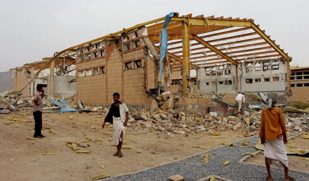 Yemen, September 2018. PICTURED:  Damage to a cholera treatment center in Yemen supported by Doctors Without Borders after an airstrike by the Saudi-led coalition airstrike. Yemen has suffered the largest Cholera outbreak this century.  Photo credit    Felton    Davis    CC 2.0
