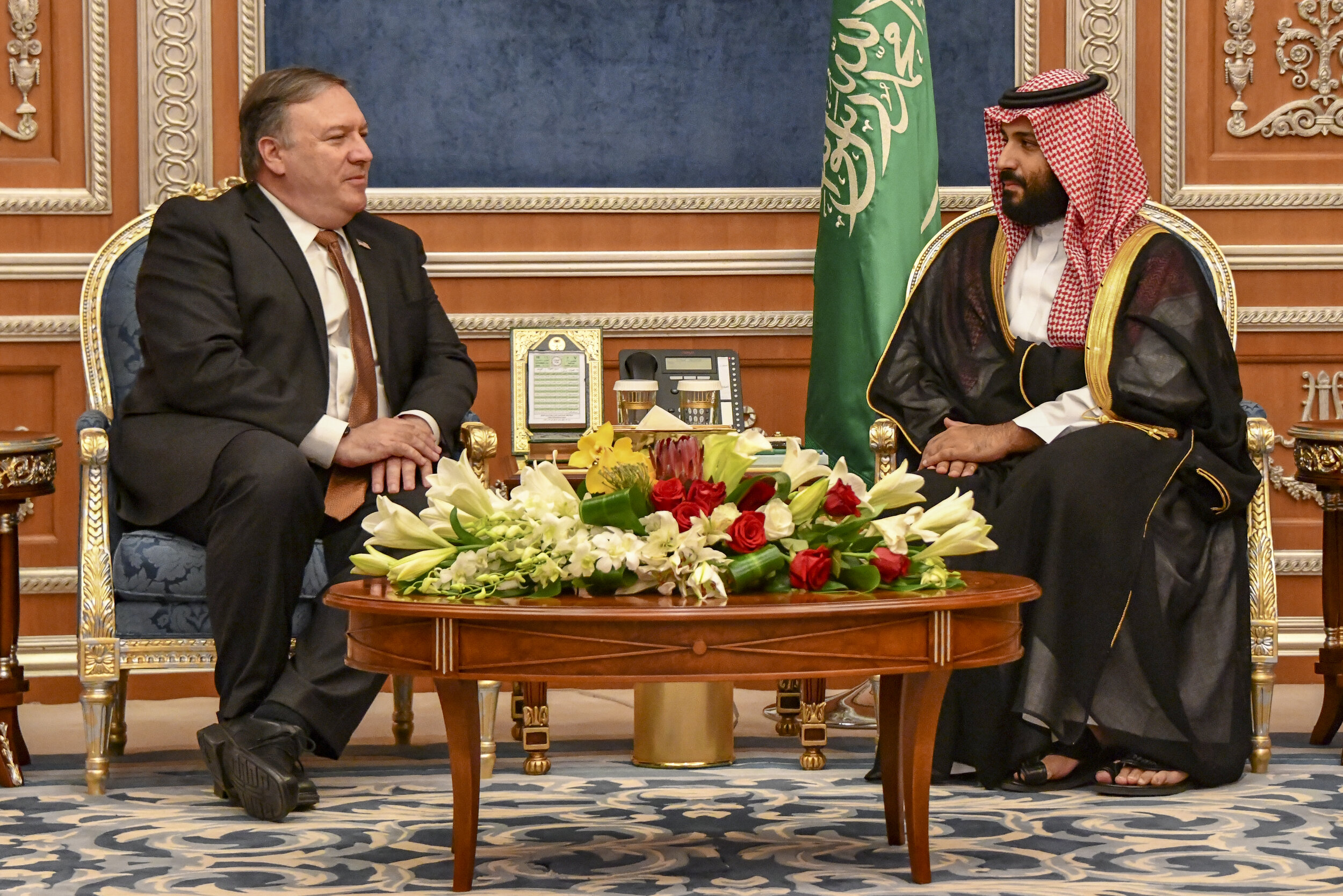 PICTURED:  Secretary of State Mike Pompeo sits down with Saudi Crown Prince Mohammed bin Salman.