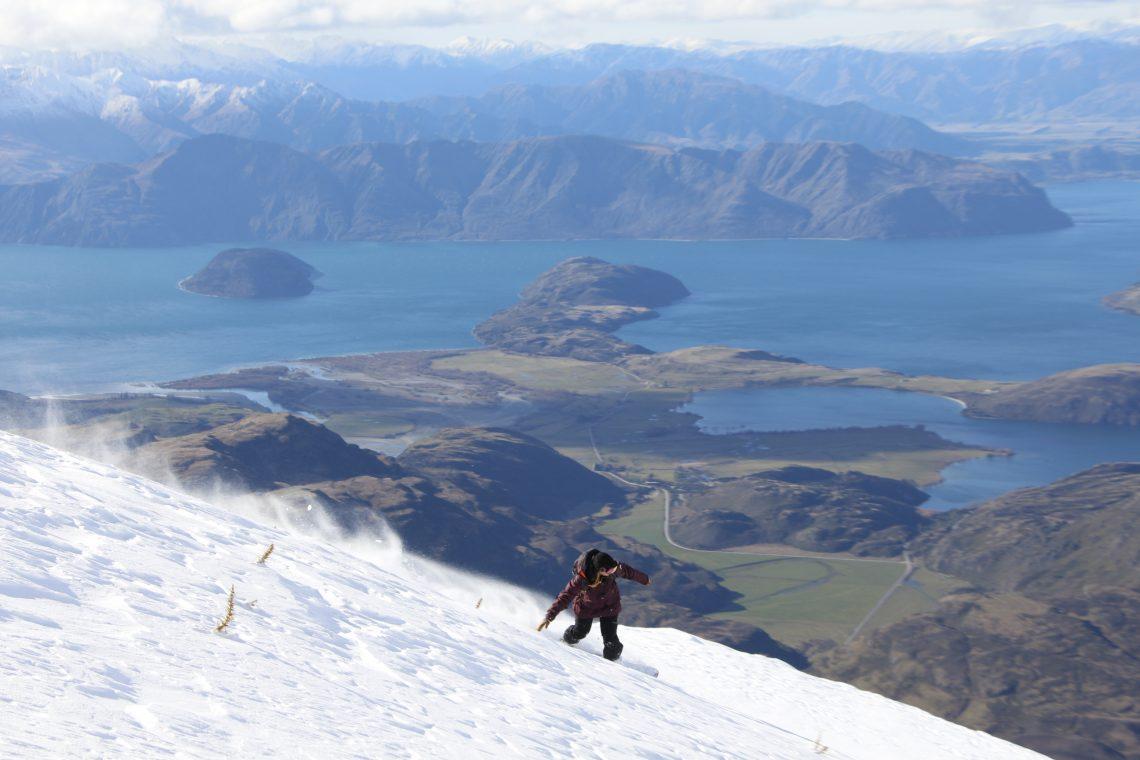 First time Heliboarder above Wanaka, NZ, photo Kazu Oba