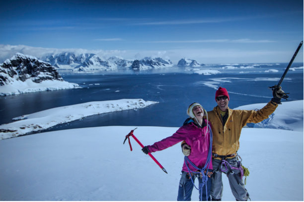 Exploring the vast beautiful landscape of Antarctica with our guide Tarn Pilkington.