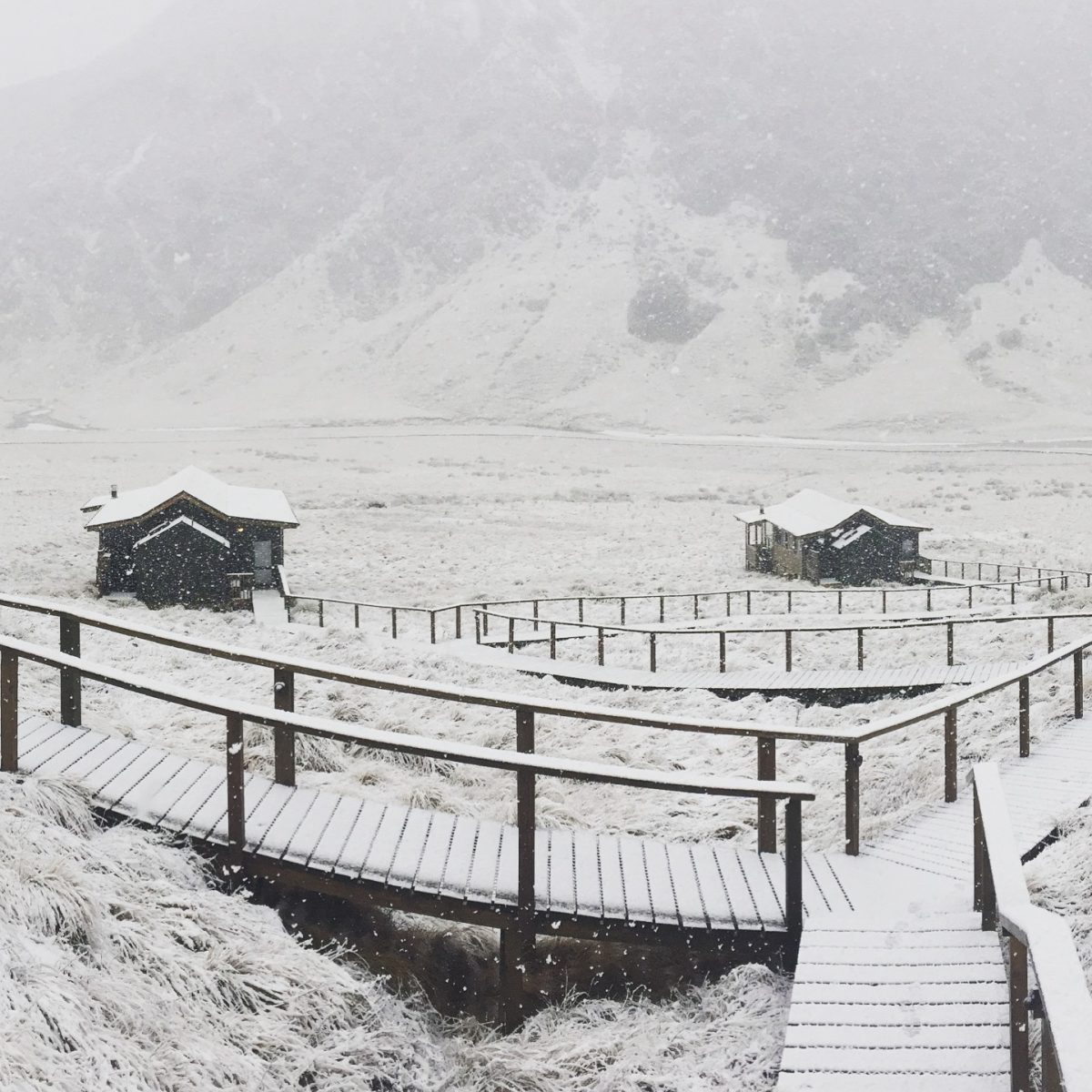Recent snow falling on our luxury  Minaret Station Alpine Lodge  near Wanaka.