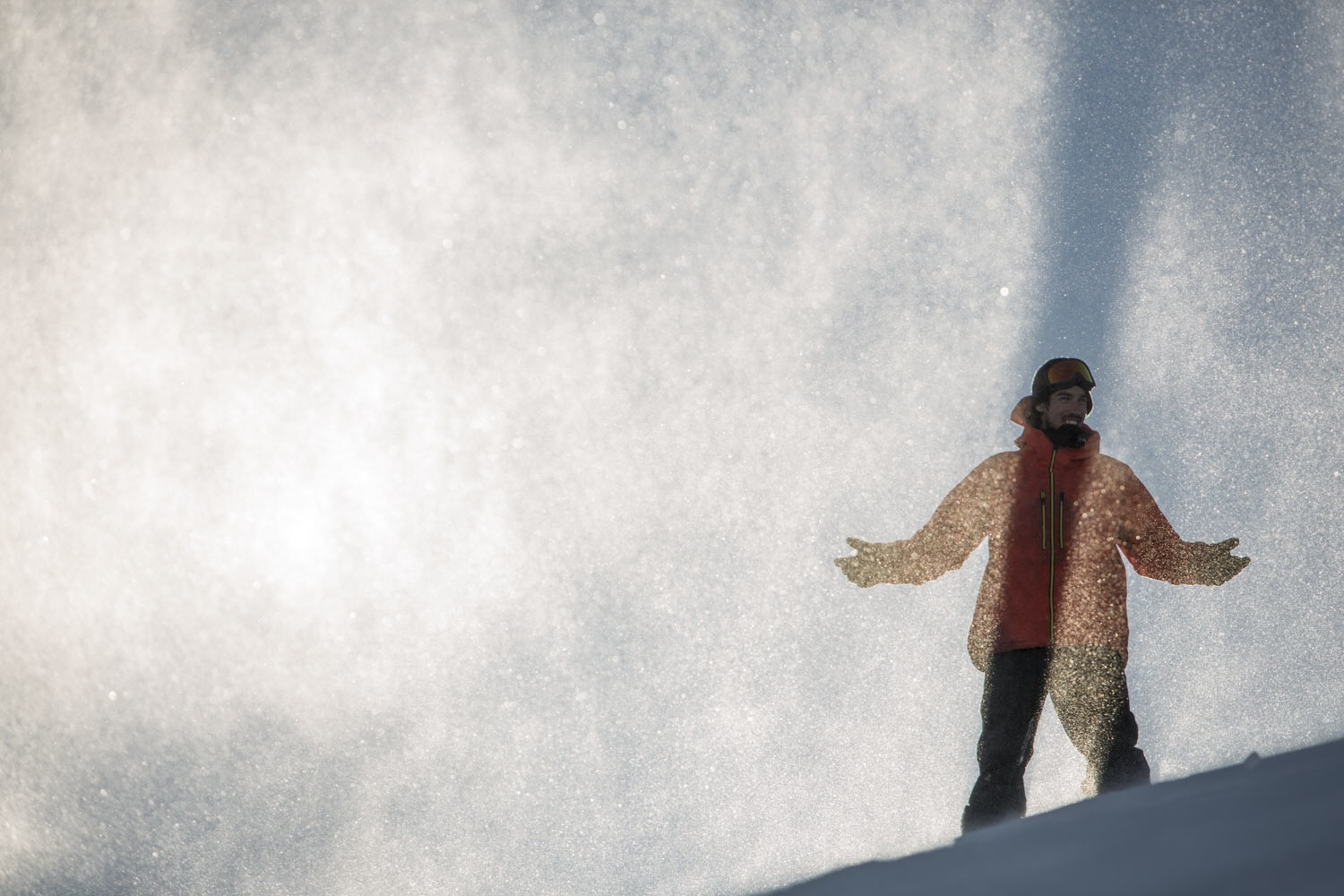 Heliboarder Will Jackways enjoys the recent snow fall