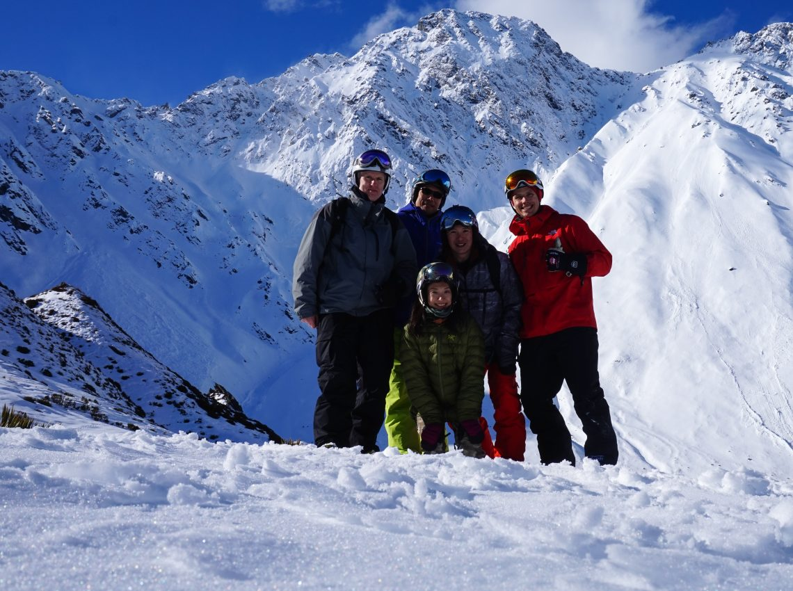 Southern Lakes Heliski Guide Michael with some of his return customers enjoying our extensive backcountry.