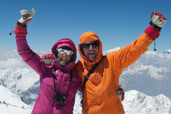 Southern Lakes Heliski Guide Lydia Bradey on top of the world.