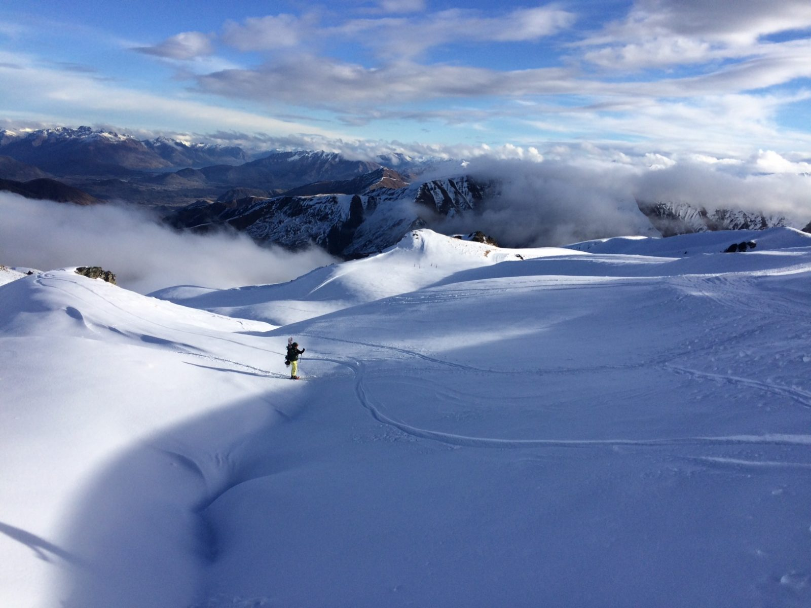 Guide Tarn Pilkington exploring the backcountry on a recent powder day.