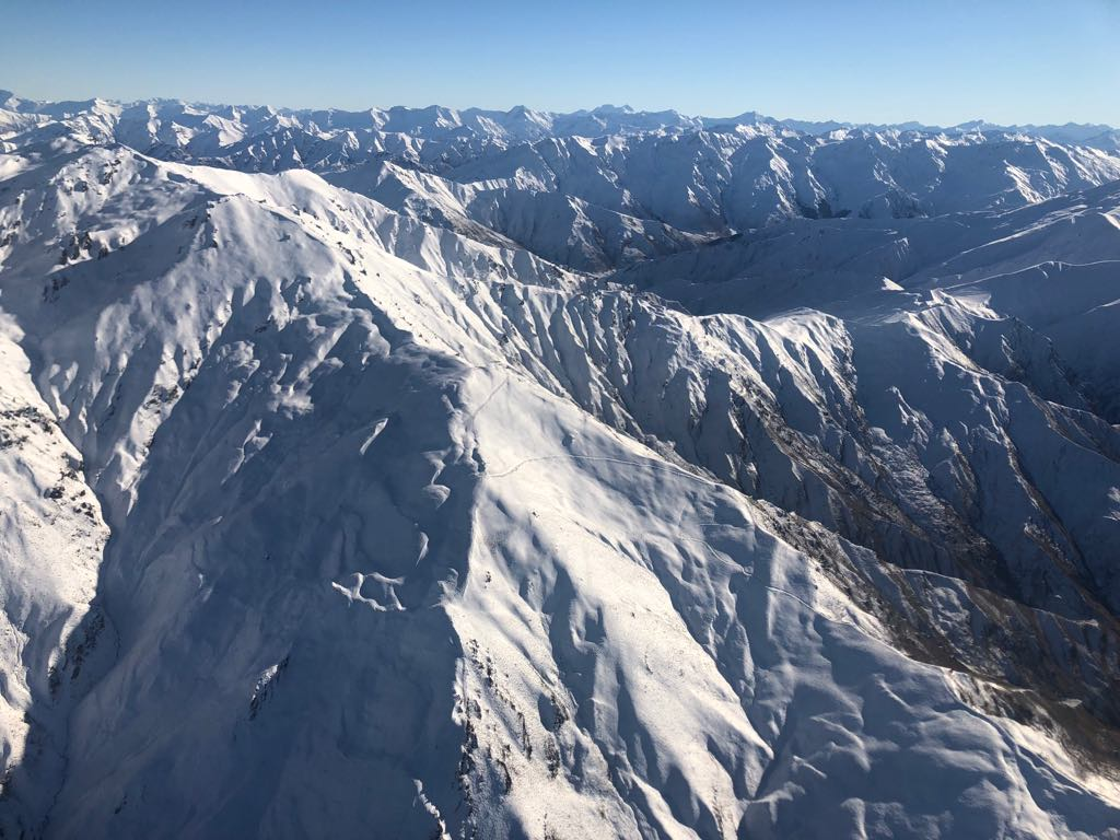 Checking out the view from the helicopter over Cardrona….so much snow