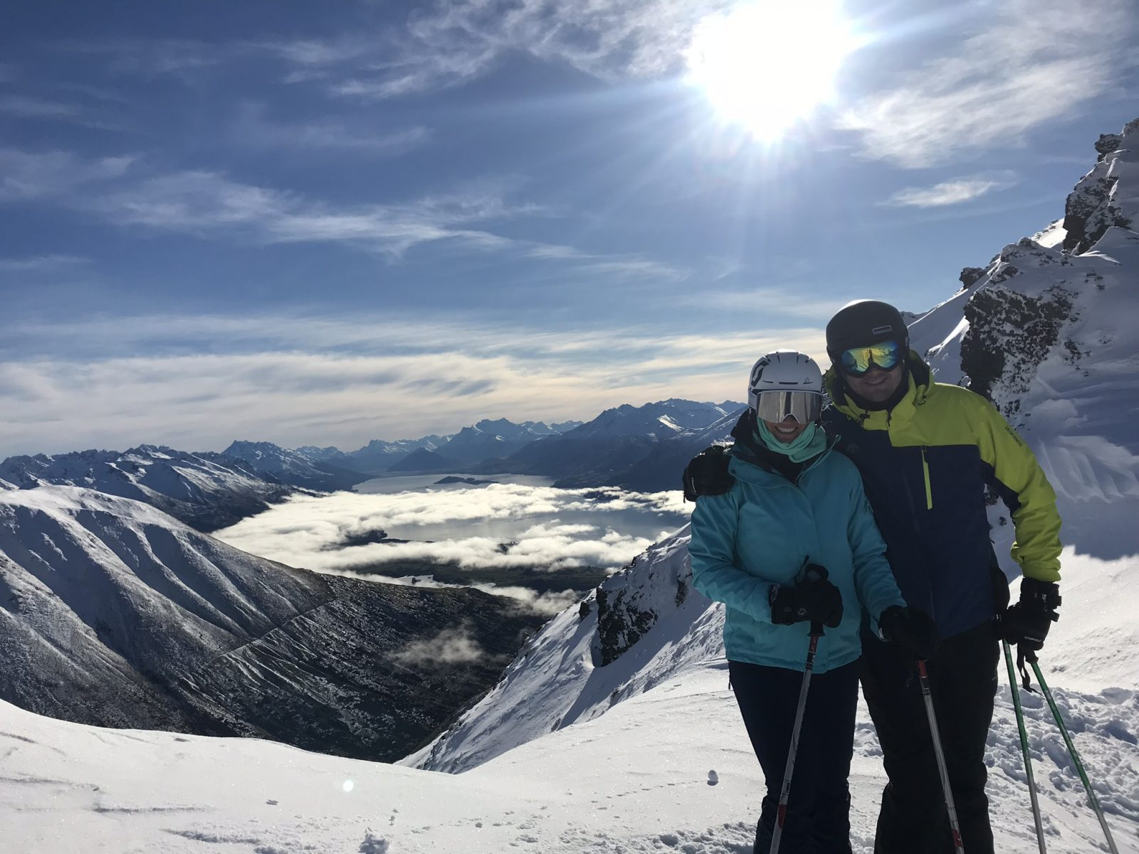 Enjoying the amazing views over the region while heli skiing in New Zealand