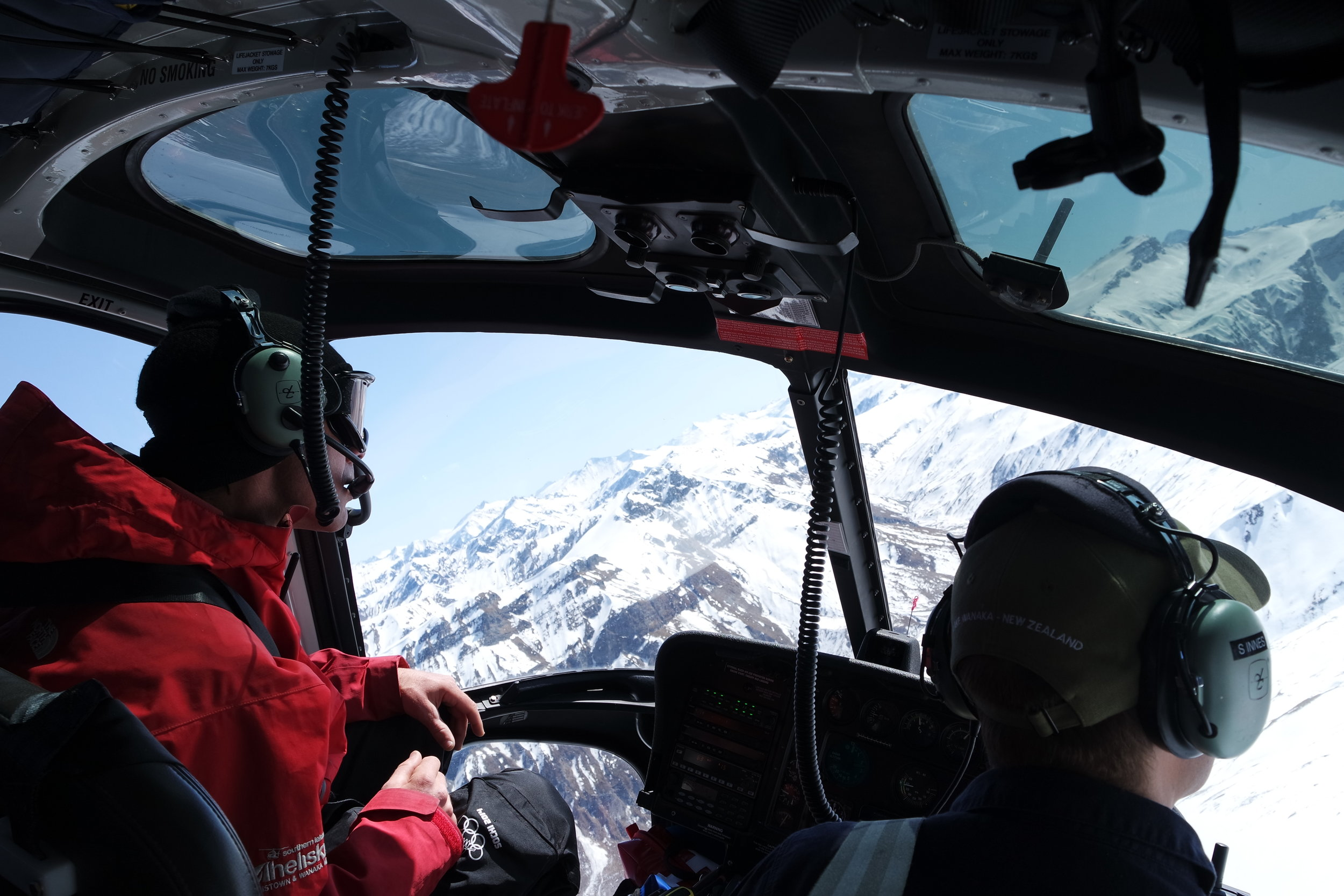 Tom's happy place scouting lines with Southern Lakes Heliski