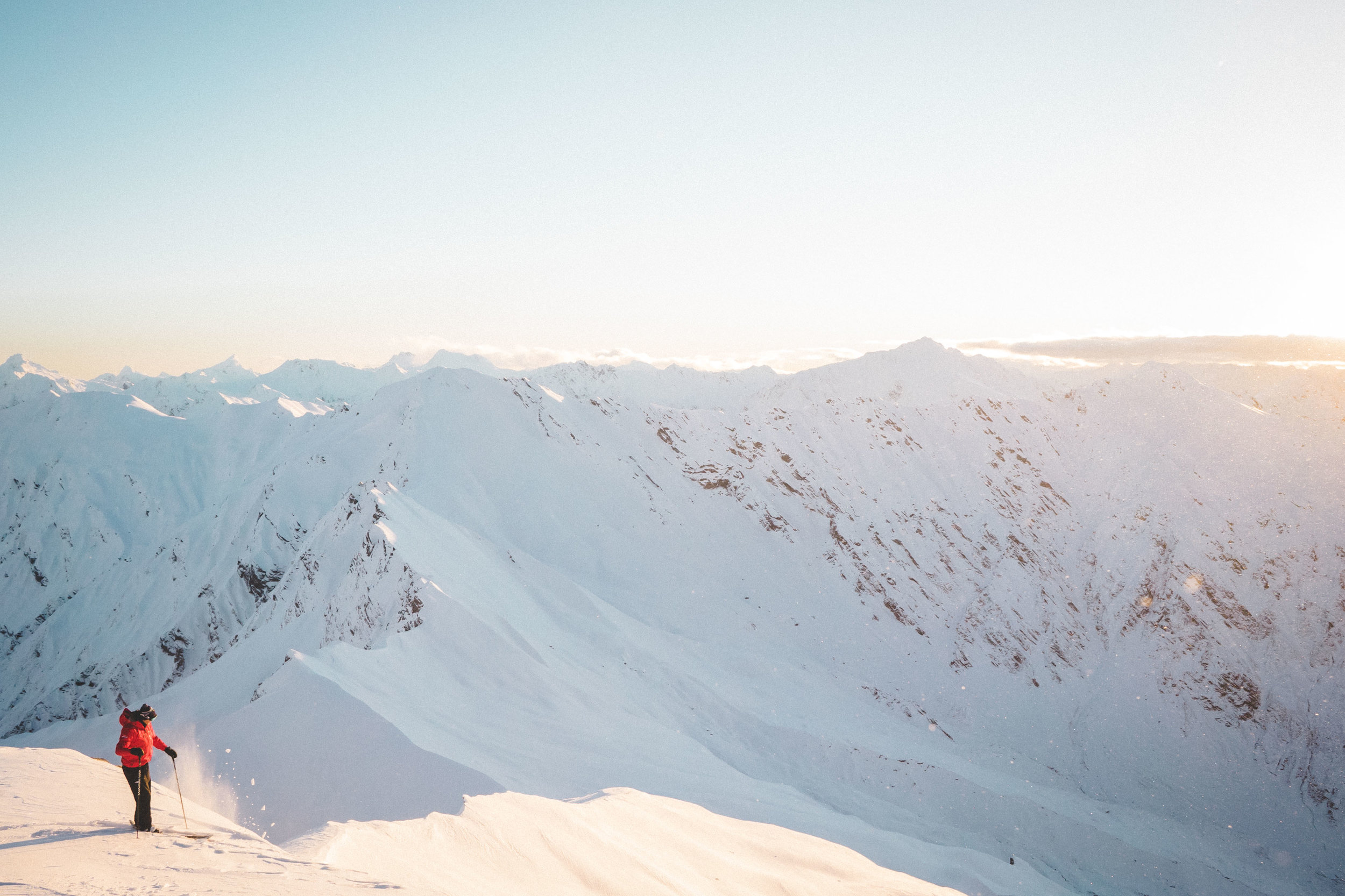 Daybreak from the top of the Minarets with Southern Lakes Heliski
