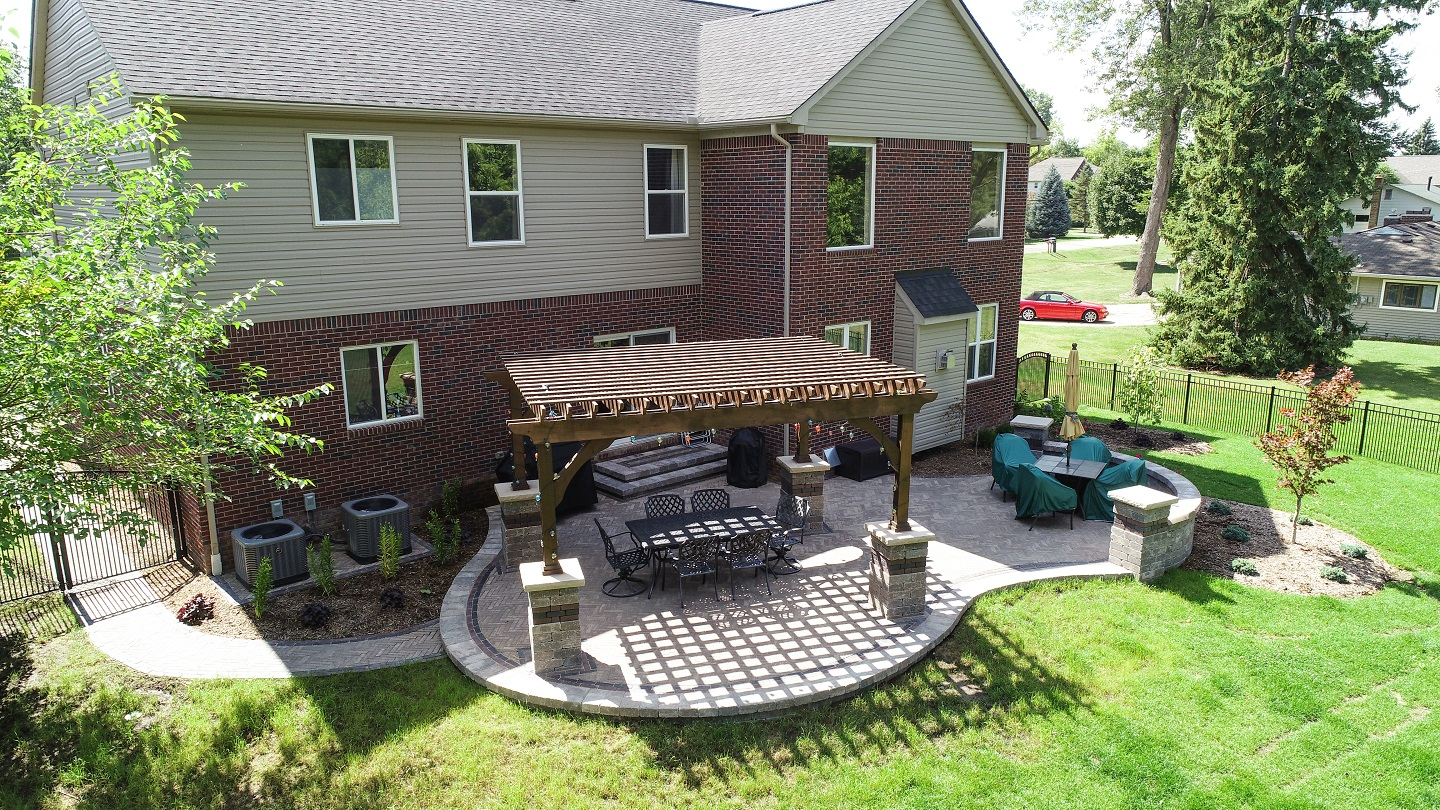 Paver patio installation in Shelby Township, Michigan