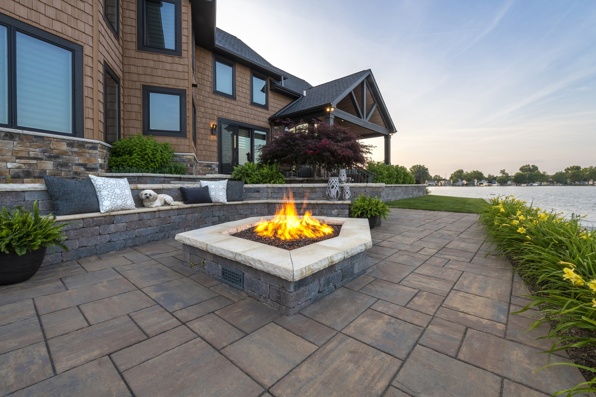 Patio pavers with beaitufil outdoor fireplace in Troy MI
