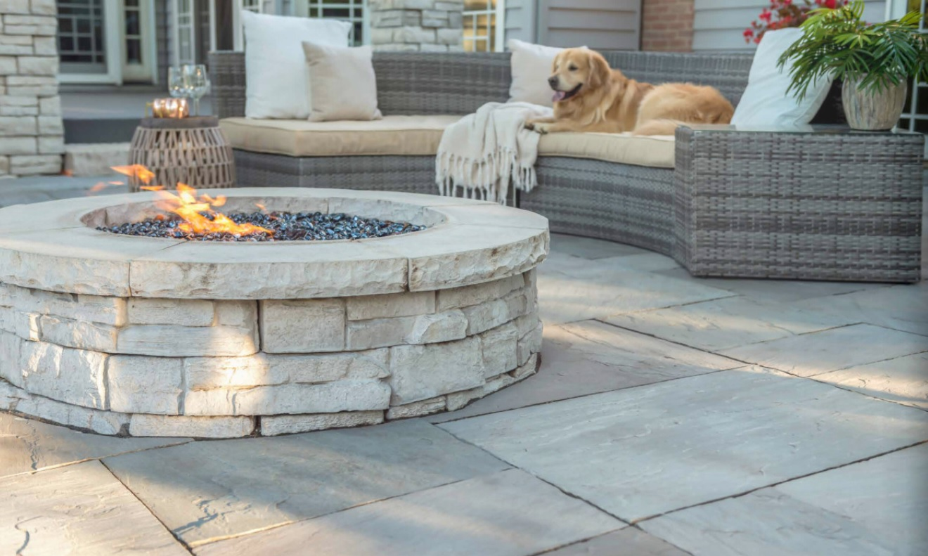 Brick pavers and outdoor fireplace in Rochester Hills, MI