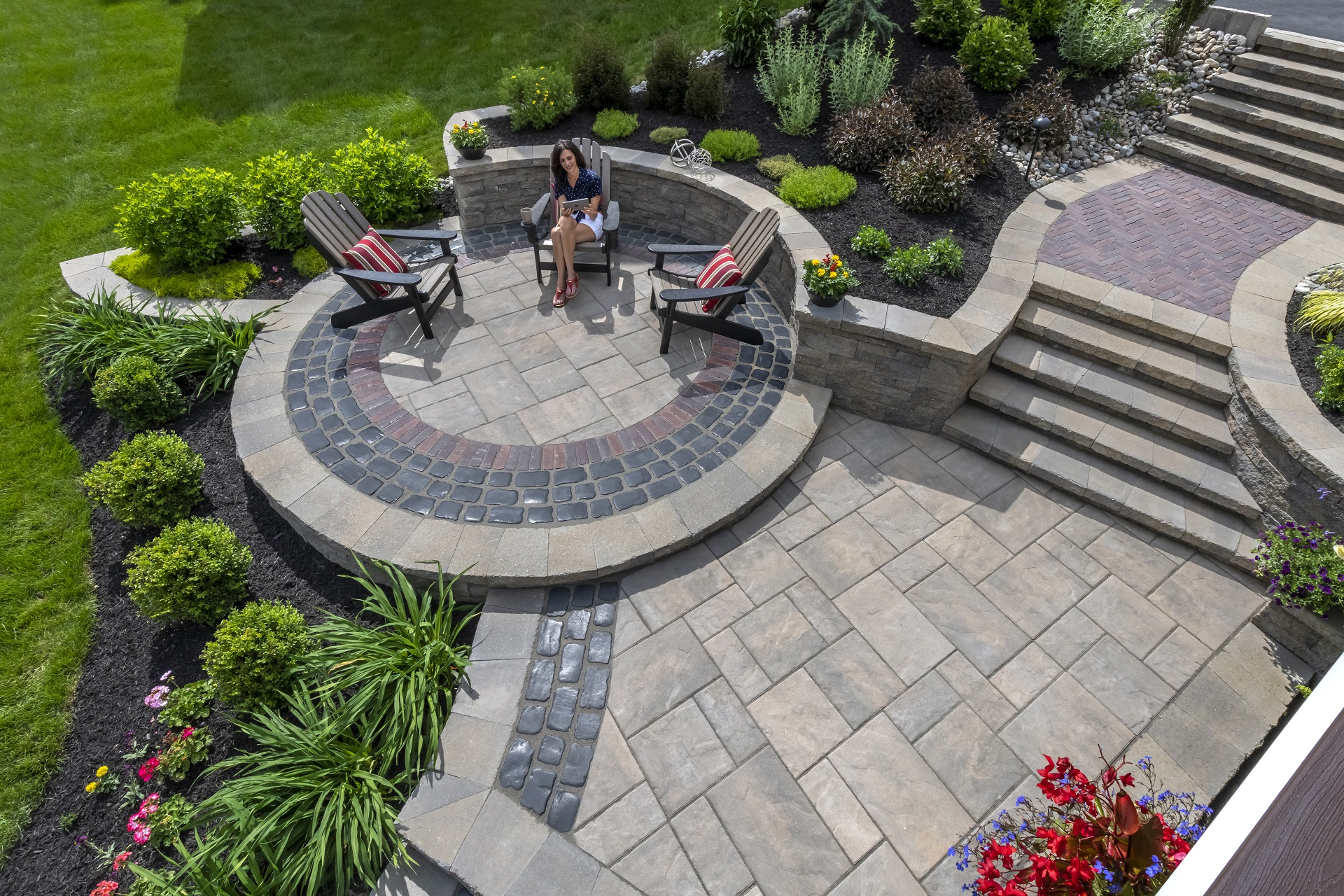 Landscape design with entrance steps in Shelby Township, MI