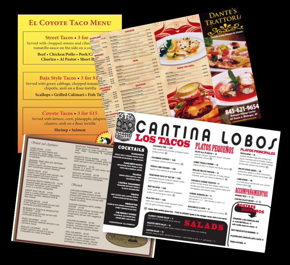 menu printing in Danbury, CT