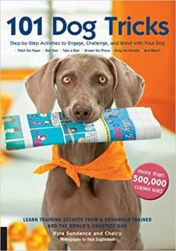 """101 Dog Tricks: Step by Step Activities to Engage, Challenge, and Bond with Your Dog    """"Great tricks and easy to understand instructions and pictures.""""    101 Dog Tricks  is an international bestseller in 18 languages with over a half-million copies sold worldwide! This beautifully designed book features step-by-step instructions with easy-to-follow color photos of each step. Each trick is rated with a difficulty rating and prerequisites to get you started quickly. Tips and troubleshooting boxes cover common problems, while Build on it! ideas suggest more complicated tricks that build on each new skill."""