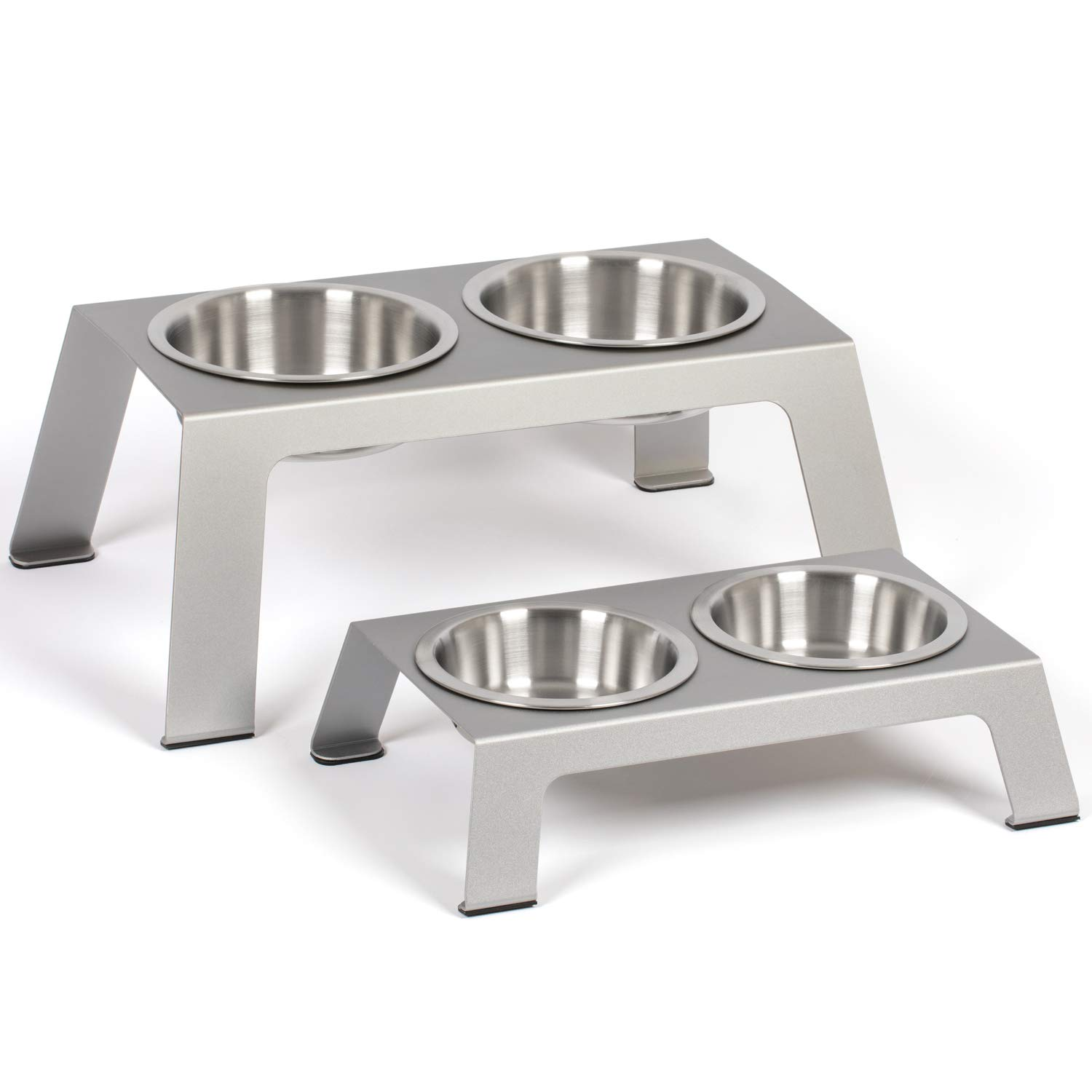 """PetFusion Elevated Dog Bowls, Cat Bowls -- Premium anodized Aluminum feeder (Short 4"""", Tall 8"""" options). US FOOD GRADE Stainless Steel raised bowls    """"I've been very happy with this purchase. Came with two deeper bowls and one shallow bowl. Very well made and bowls clean well by hand or in dishwasher""""   Benefits of anodized aluminum: (I) more corrosion resistant than most grades of stainless steel. (Ii) Color infused so will not chip. (Iii) long lasting, light weight, and easy to clean  Award winner: (I) The conscious cat editor's choice Award: top 10 best New product. (Ii) 2019 pet life today's #2 best dog bowl stand  Promotes your pet's Wellness: (I) elevated to support digestive health & make mealtime more comfortable. (Ii) 3 US food grade stainless steel Bowls. 2 @ 3 cups each + 1 shallow (1.1"""", 13 oz) to prevent whisker fatigue. Bowl sizes also available separately.(Iii) Please READ vet recommendations below  Vets recommend: (I) 1 food bowl per pet, especially in event of special nutritional needs & Aggressive behavior. (Ii) community water bowl typically ok. (Iii) dogs need 1-2 cups of water per day for every 10 lbs Weight. Cats about 5-10 oz Water  You should know: (I) 17.2 x 10.4 x 4 inches. (Ii) anti-slip feet & bowl insets to keep things neat and tidy. (Iii) sized for small dogs & CATS. (Iv) 12 month Warranty on any part that is broken due to manufacturer defect  If you have any product questions or suggestions, or have concerns with a PetFusion product you already purchased, We'd love to hear from you."""