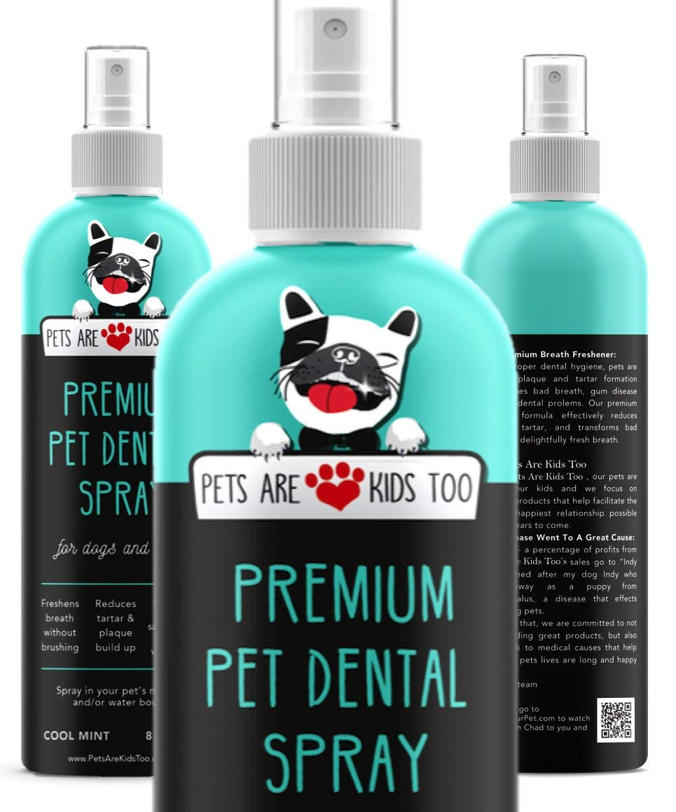"""Premium Pet Dental Spray (Large - 8oz): Best Way To Eliminate Bad Dog Breath & Bad Cat Breath! Naturally Fights Plaque, Tartar & Gum Disease Without Brushing! Add to Water! Digestive Aid!    """"I use this right after I brush Winston's teeth (everyday). Like the natural ingredients and it works well.""""   ★ """"PUPPY BREATH IN A BOTTLE"""" - INSTANTLY ELIMINATE BAD DOG AND CAT BREATH: Cure your pets' breath ON CONTACT with the powerful breath freshener that remedies and transforms bad dog breath and stinky kitty breath into Forever Puppy or Kitty Breath! Rest assured it contains NO toxic grain alcohol or pesticides, but has a TASTE PETS LOVE.  ★ """"PET DENTIST IN A BOTTLE"""" – TOOTH SPRAY ELIMINATES TARTAR, PLAQUE AND GUM DISEASE. LIFE THREATENING oral diseases show up in 70-80% of pets by age 3. While most products ONLY freshen breath, (or contain stomach-upsetting ingredients) our alcohol-free dog breath spray and plaque & tartar remover reduces the risk of oral disease by providing daily natural plaque and tarter control for dogs and cats. Also works well as a digestive aid!  ★ ACTUALLY WORKS BETTER THAN dog breath bones, freshener treats, breath freshener mints for dogs, dental chews, dog mouthwash, or other dog teeth cleaning and dental care products. The natural ingredients have anti-septic properties, and deliver results at an ENZYMATIC LEVEL, eliminating the ROOT CAUSE of bad breathe, plaque, tarter, bacteria and periodontal disease before it's too late. This is the easiest way to get fresh breath for dogs and cats, while offering protection as well :)  ★ EASIEST TO USE & PETS LOVE THE TASTE: Simply add 3 – 5 sprays into your pet's water bowl AND 2-3 sprays along their gums & teeth (both sides) to remedy bad breath. Because PETS LOVE THE TASTE they'll OPEN UP FAST – just like every other time you offer them a special treat! PRO TIP – If your pet is the least bit hesitant, spray some on a dish. They'll quickly lick it up, realize they love the taste and start begging for it"""