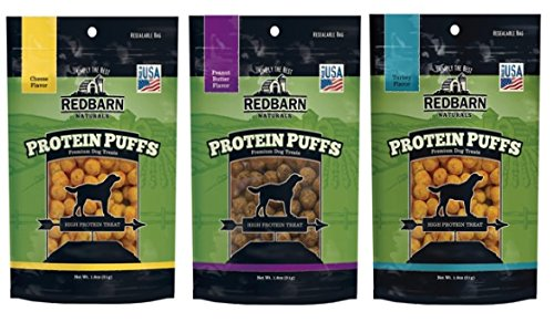 """REDBARN Dog Protein Puffs Variety Pack - 3 Flavors    """"This is a great treat! High in protein, natural ingredients, not smelly or messy and perfect to use on walks, for trick training, with the Treat & Train or with snuffle mats""""   3 Pack Bundle – One each 1.8 oz package of the following flavors: Peanut Butter, Turkey, Cheese  Completely free from grains, gluten, corn, soy, wheat, and artificial preservatives, flavors, or chemicals.  Low fat, 75% protein and less than one calorie per treat  Great topper or training treat  Made in the U.S.A."""