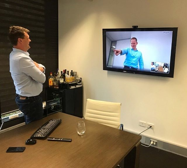 Charles and Neil had a great time setting up the new video ready conference room in our Sydney office. 😂 #directorslovetechnology