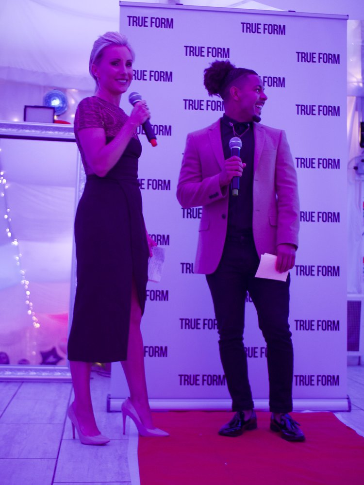 Compère Justine Jones during the Q&A with True Form Owner Tyrone Herbert