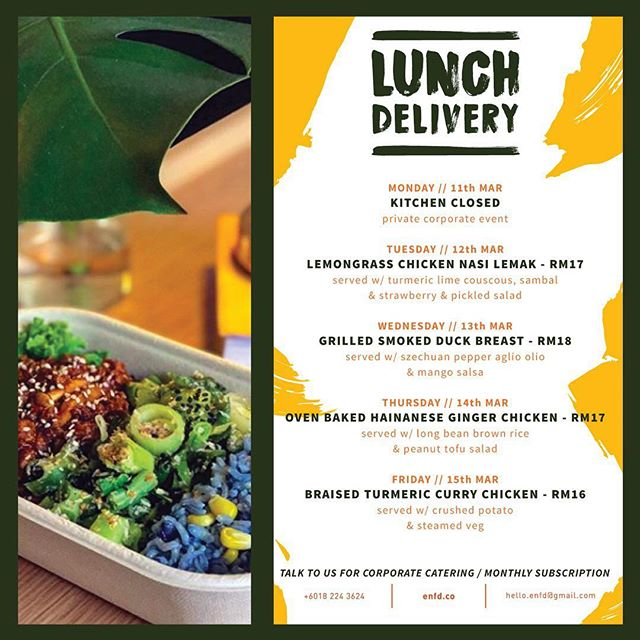 "Another week filled with ÉNFD's meticulously curated lunch menus - now that's something for you to look forward to - fuss free, flavourful, gourmet lunch delivered to you! *This week's highlight - 12th of Mar (Tuesday) // LEMONGRASS CHICKEN ""NASI LEMAK"" served w/ TURMERIC LIME COUSCOUS, SAMBAL & STRAWBERRY PICKLED SALAD*  please note that our kitchen will be closed on Monday (11/3/2019) for private event catering.  Place your order today by simply leaving us a message here or +6018 224 3624. Don't forget to place your order the day before delivery day :) Have a great healthy & fresh week ahead! ✨"