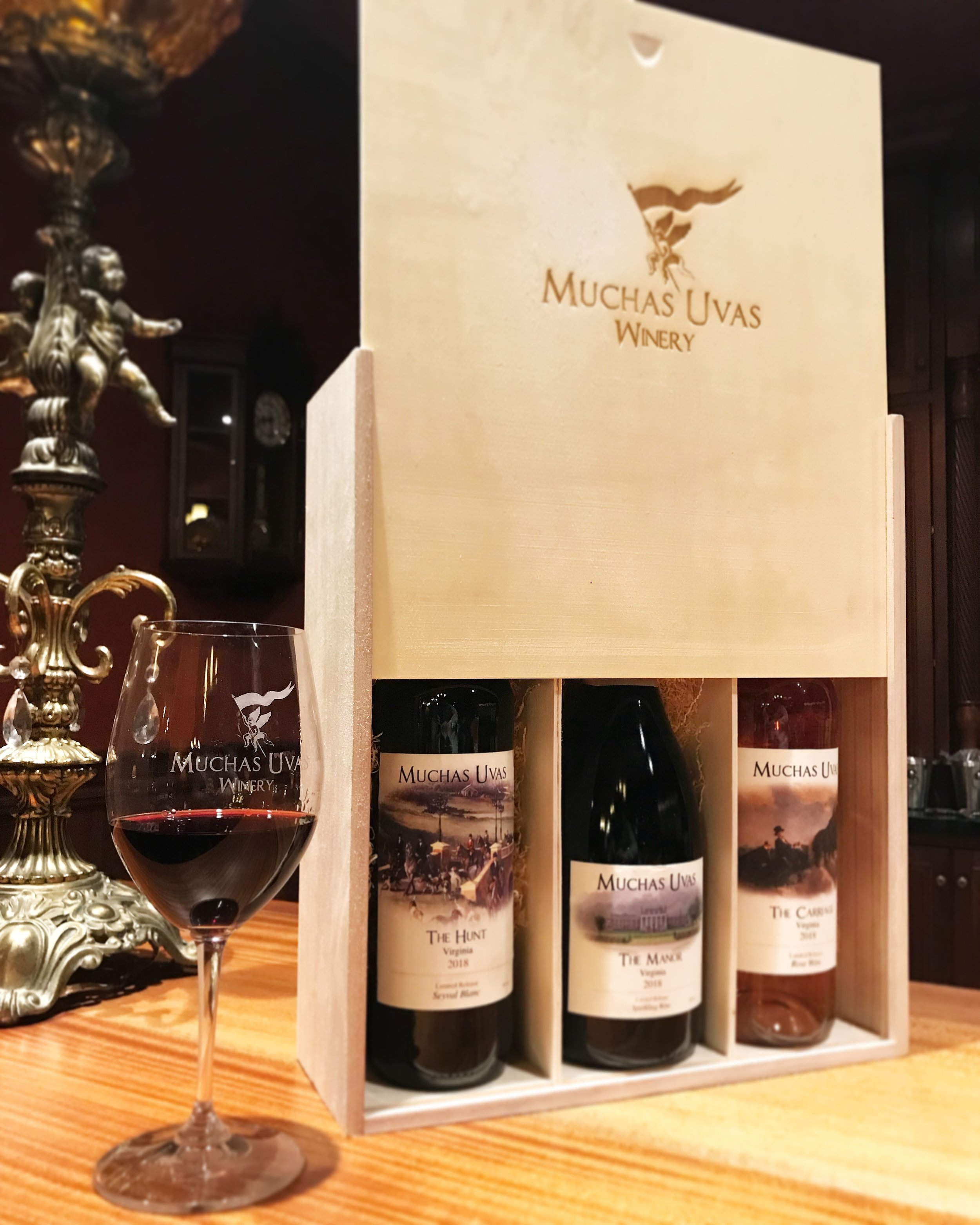 Wooden box with 3 wines $140 - These 3 wines will be available on May 11th, 2019