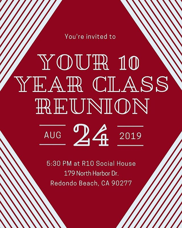 Ten years have passed since we graduated from Torrance High 🎓 Now we're counting down - 12 weeks until our first high school reunion. Purchase your tickets now!