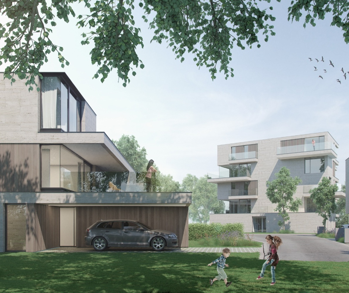Schakelwoningen, ééngezinswoningen, appartementenen handel. - Het project bestaat uit 5 woningen, 8 schakelwoningen en een meergezinswoning. Gezien de centrale ligging van het perceel werd veel aandacht besteed aan de integratie van het gebouw in haar groene omgeving.