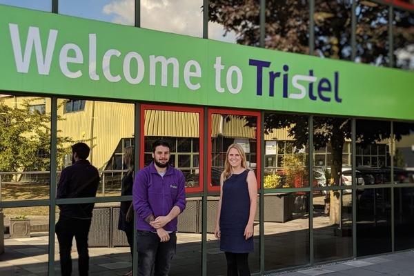 Tristel's Bryn Clark and FCC Innovation's Liz Budd outside Tristel's Snailwell premises