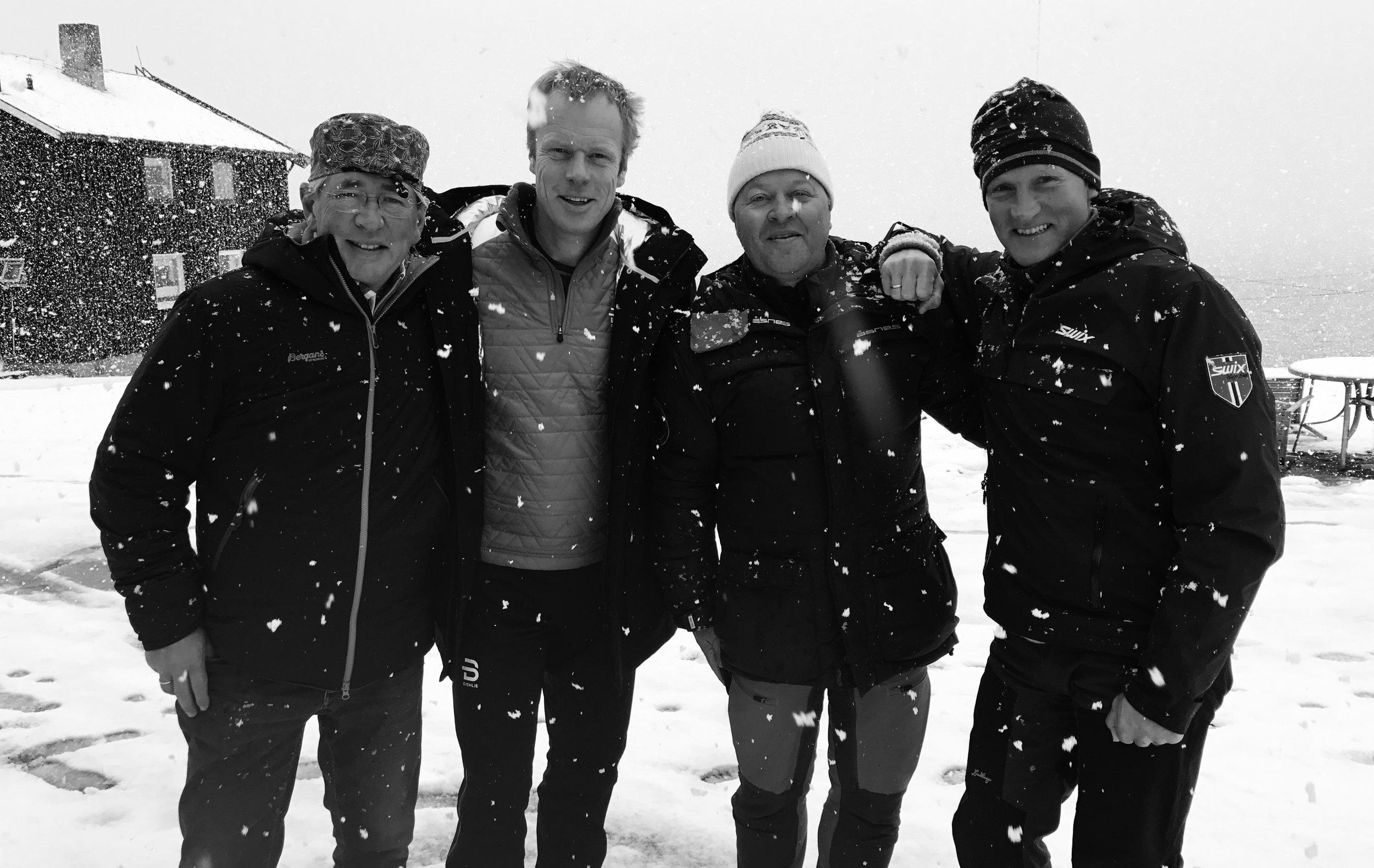 Medeierne: Arne Brimi, Bjørn Dæhlie, Arne Hjeltnes og Vegard Ulvang