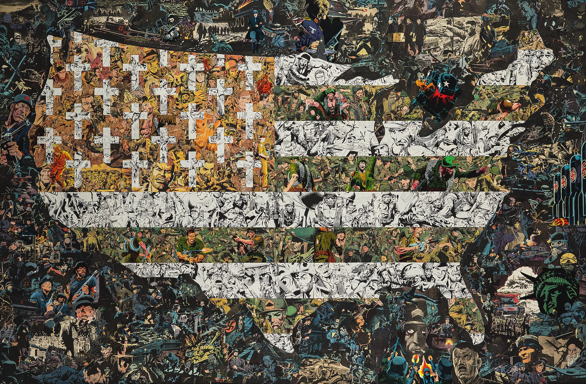 Twilights Last Gleaming, 93 x 139 cm37 x 55 in (comic collage on wood), 2016.jpg