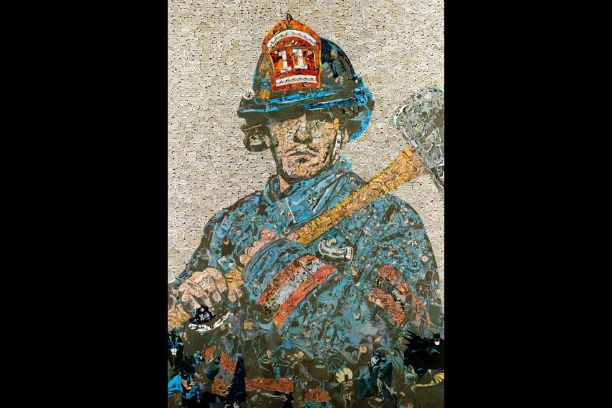 Hero,   158 x 109 cm/62 x 43 in (comic collage on wood), 2010