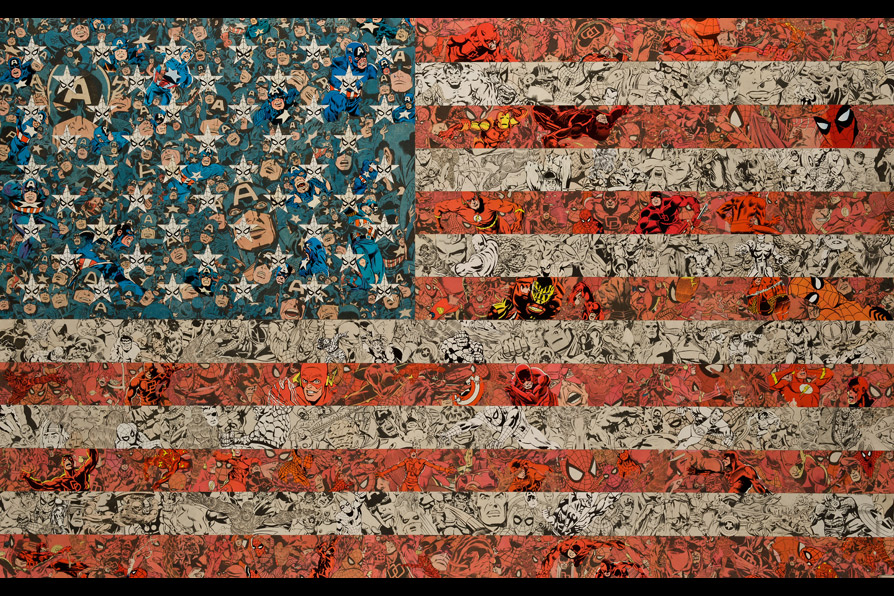Patriots,   85 x 129 cm/34 x 51 in (comic collage on wood), 2011