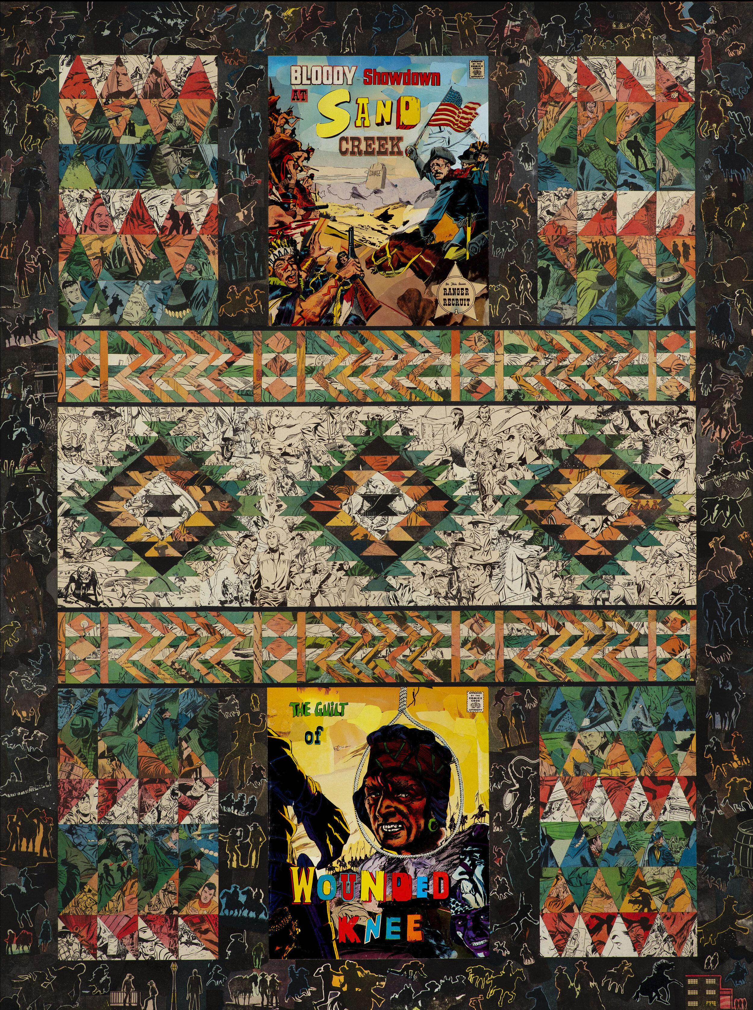 Decimation, 108 x 81cm (comic collage on wood) 2018