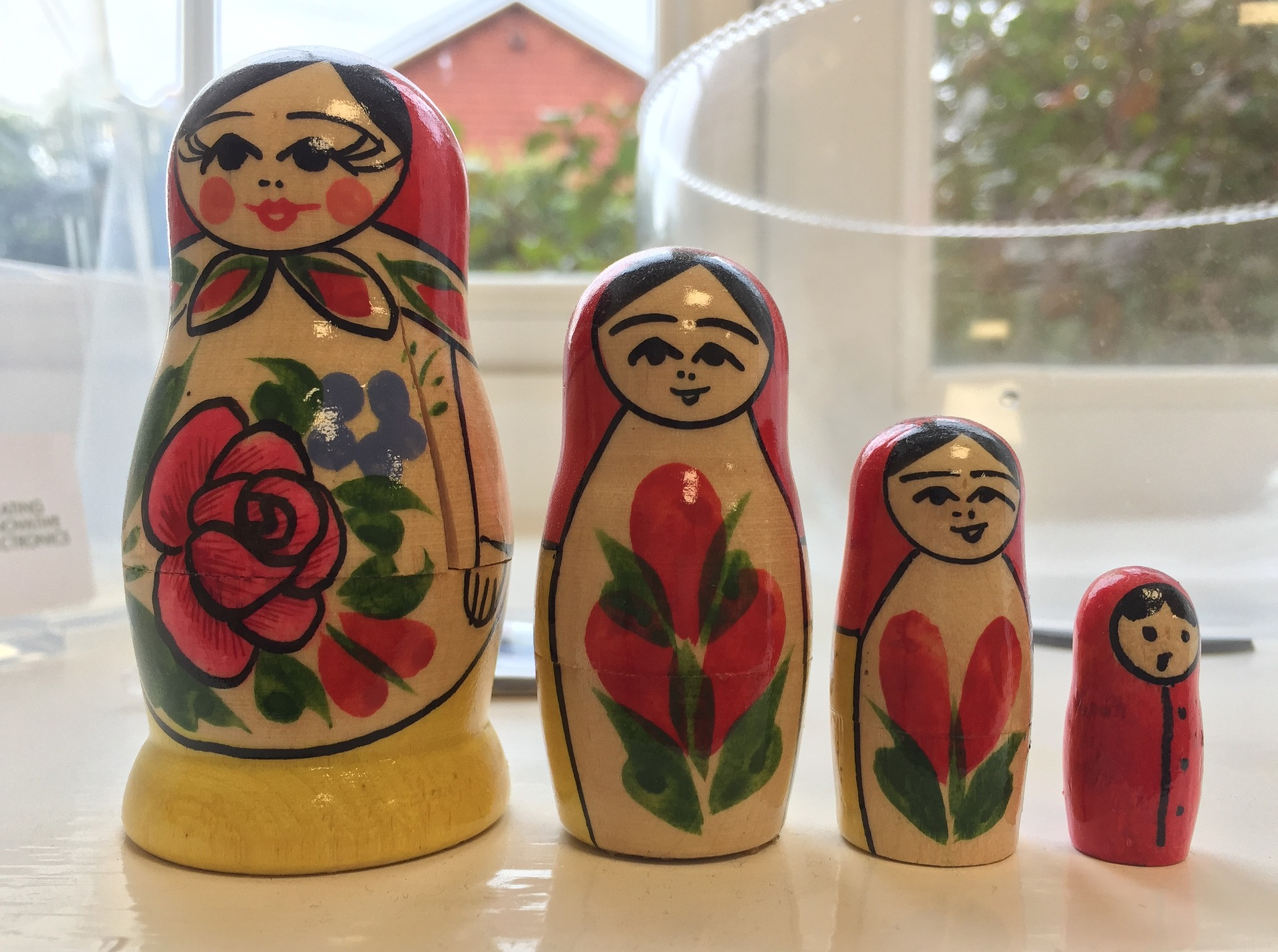 Takl chores are nested like these four Russian Nesting Dolls Sitting At A Table