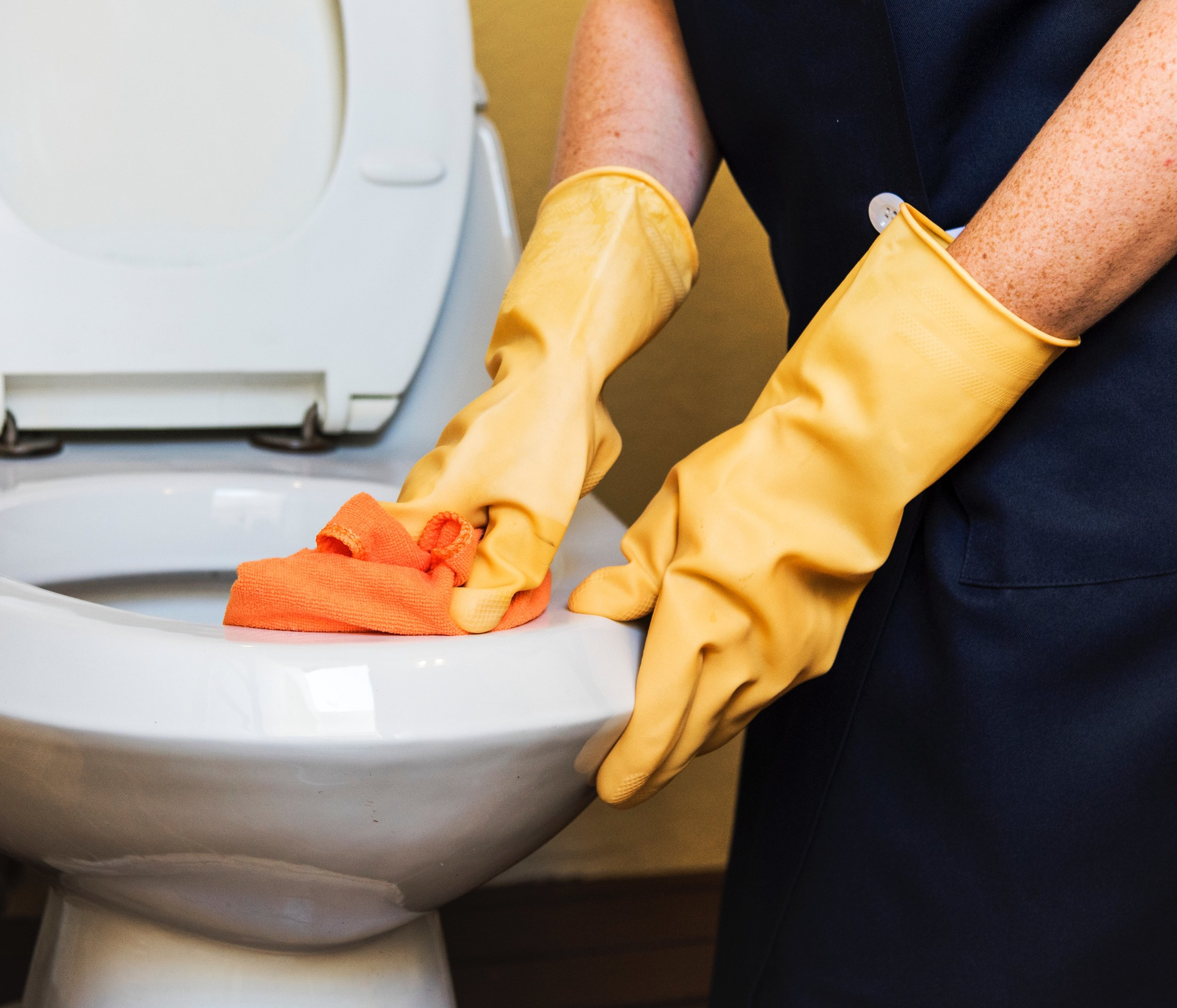 Someone cleans a toilet