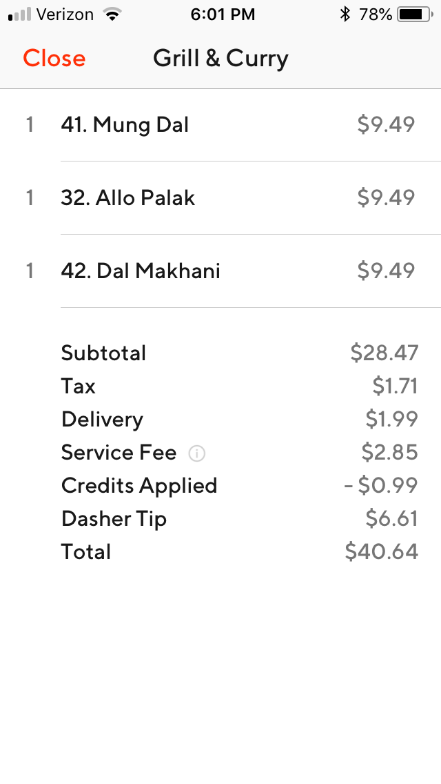 doordash get receipt