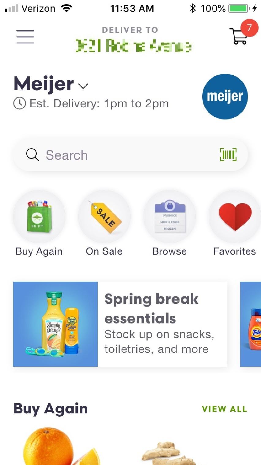 screenshot of Shipt home screen