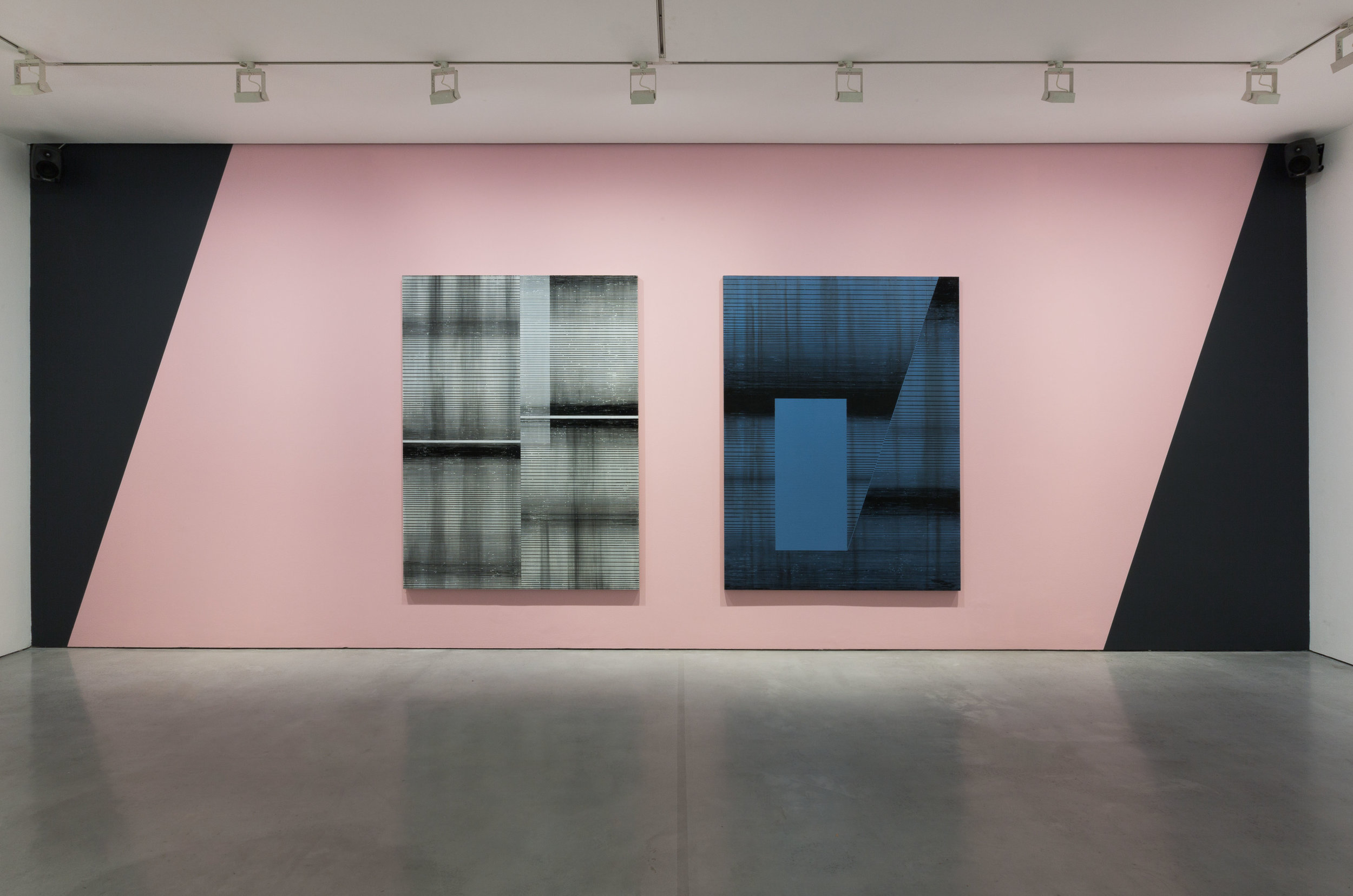Installation shot;  Modular Synthesis  & Void, 2015, each; Enamel and oil on linen 200 x 150 cm
