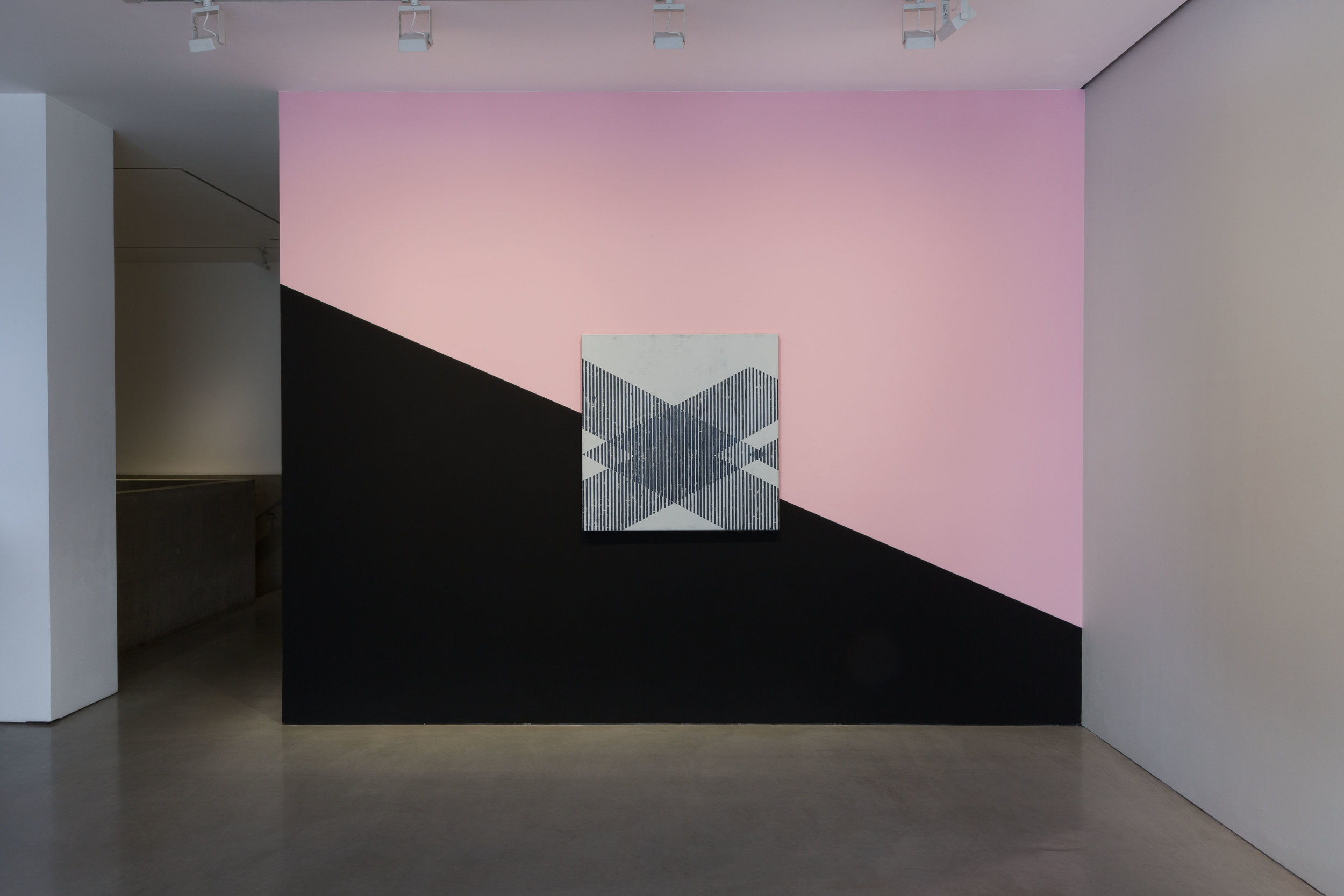 Installation shot; Signal Frequencies I , 2015 Enamel and oil on linen