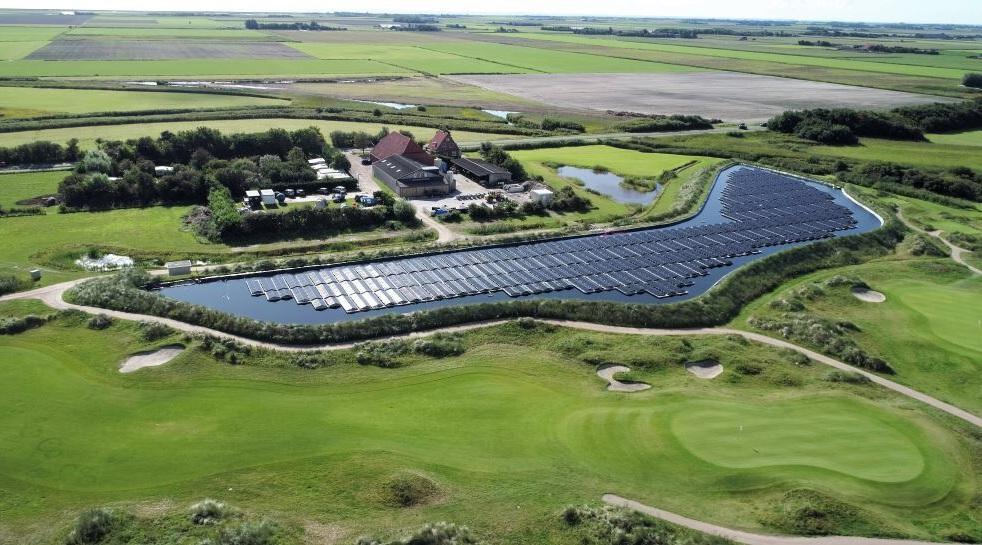 Floating solar PV installation on a 7728 sq. meter rainwater reservoir
