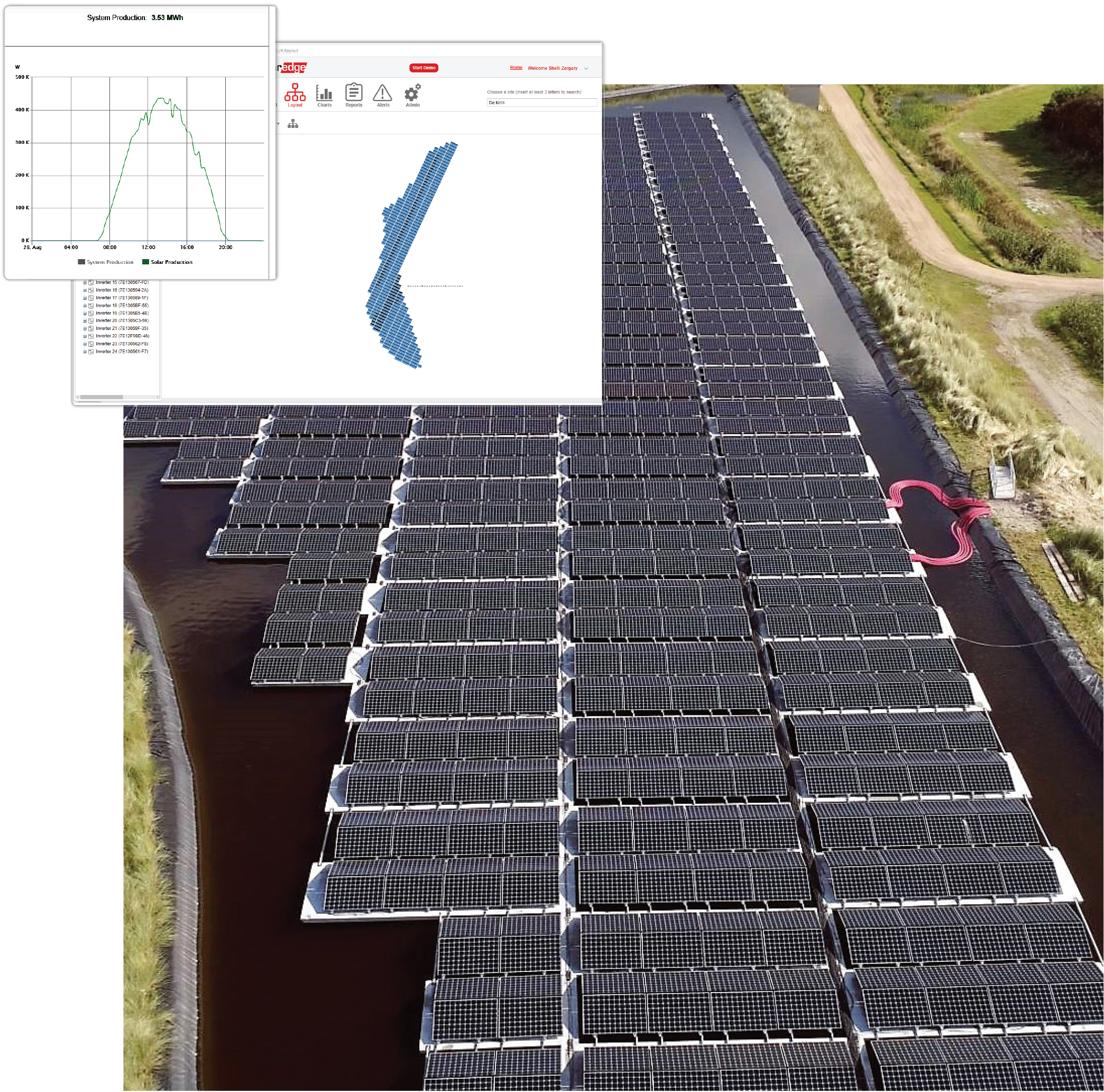 The SolarEdge monitoring platform dashboard shows status updates, alerts and other information transmitted from the site. Users can see the physical layout of the installation as well as detailed charts about system performance, reducing costs by enabling the remote monitoring of operations.
