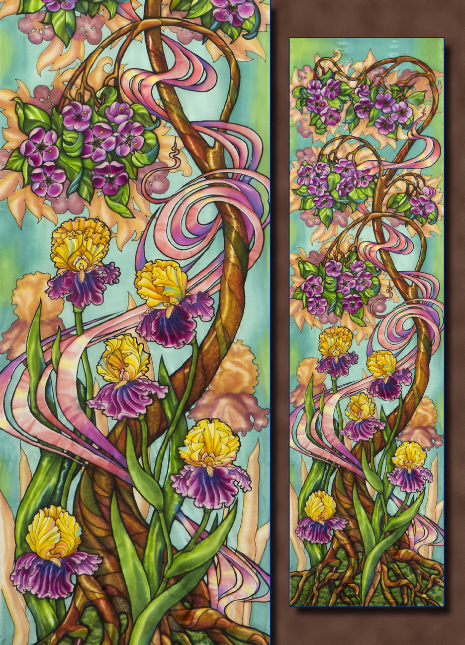 Blooming Tree and Irises